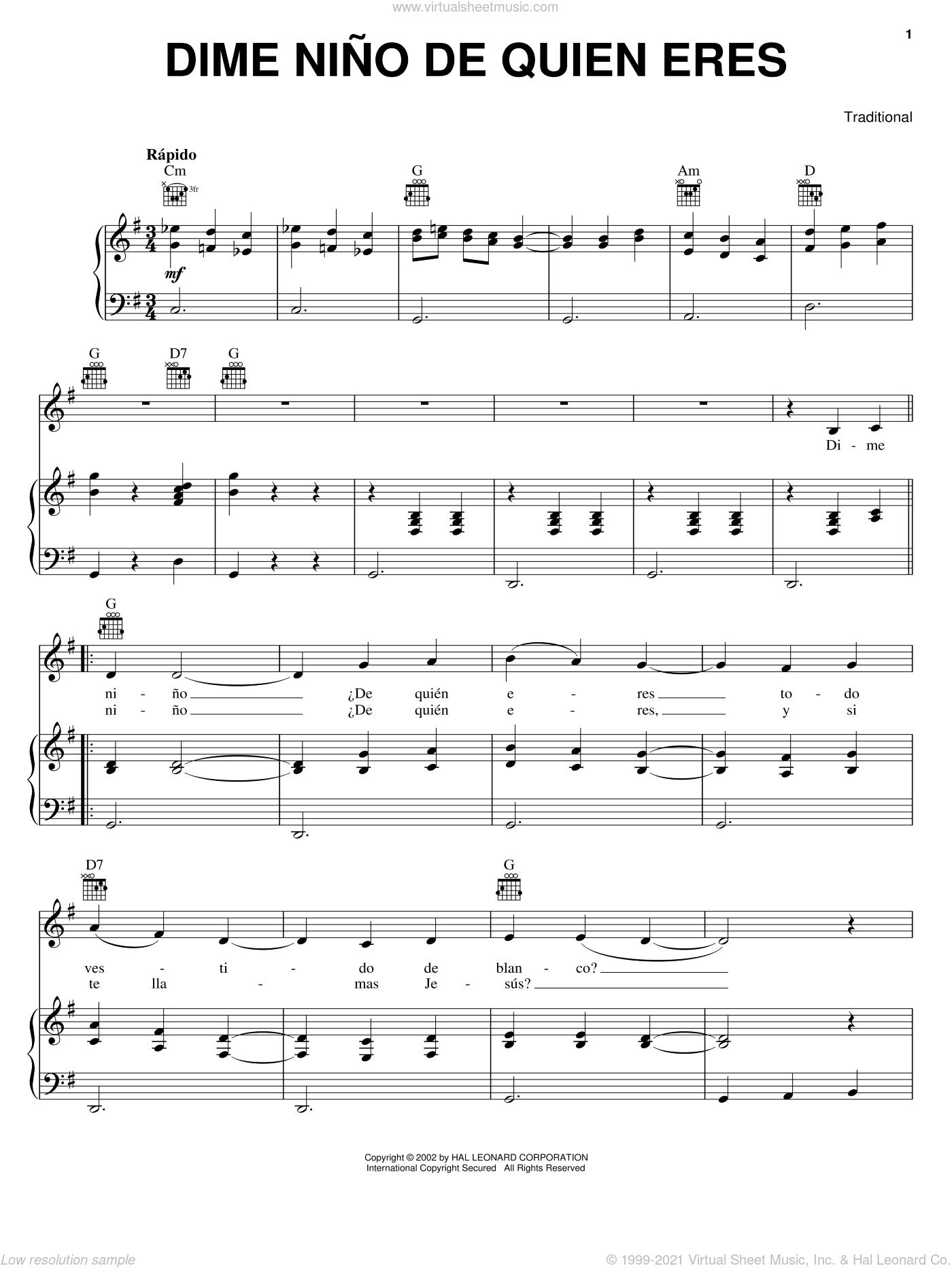 Dime Nino De Quien Eres sheet music for voice, piano or guitar, intermediate skill level