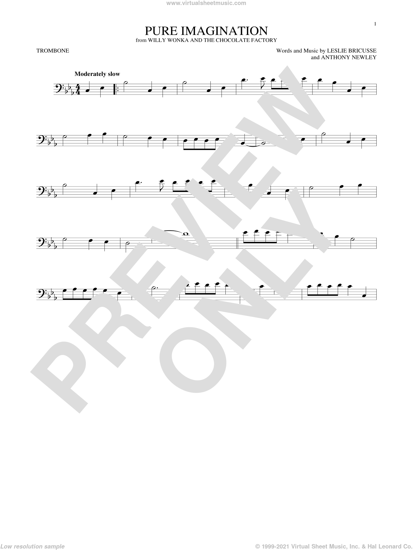 Pure Imagination sheet music for trombone solo by Leslie Bricusse and Anthony Newley, intermediate skill level