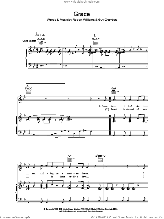 Grace sheet music for voice, piano or guitar by Robbie Williams, Guy Chambers and Robert Williams, intermediate skill level
