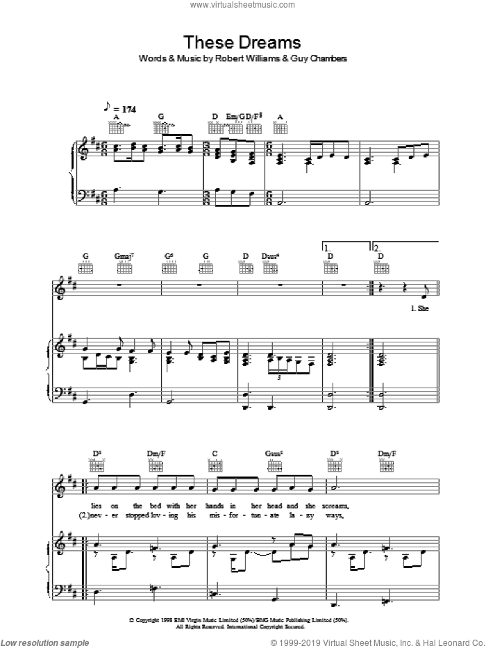 These Dreams sheet music for voice, piano or guitar by Robbie Williams, Guy Chambers and Robert Williams, intermediate