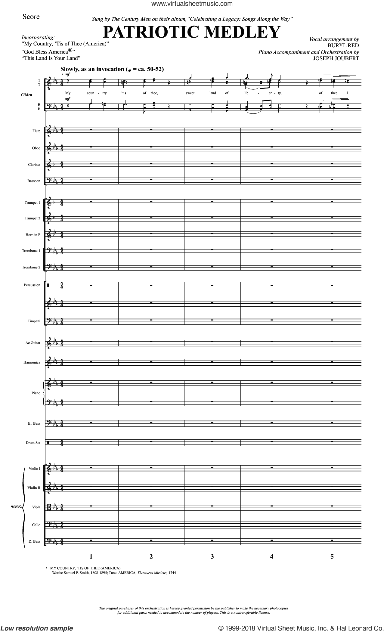 Patriotic Medley (COMPLETE) sheet music for orchestra/band by Buryl Red, Joseph Joubert, Samuel Francis Smith and Thesaurus Musicus, intermediate skill level