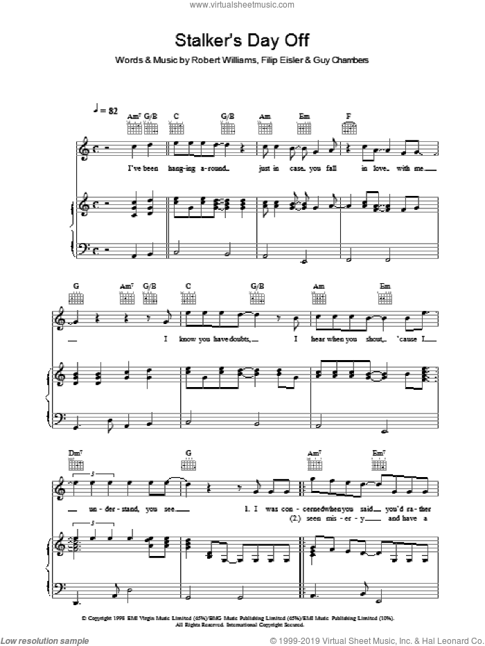 Stalker's Day Off sheet music for voice, piano or guitar by Robbie Williams. Score Image Preview.