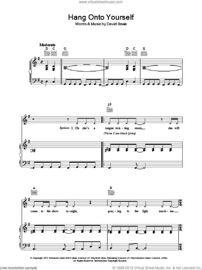 Hang Onto Yourself sheet music for voice, piano or guitar by David Bowie. Score Image Preview.