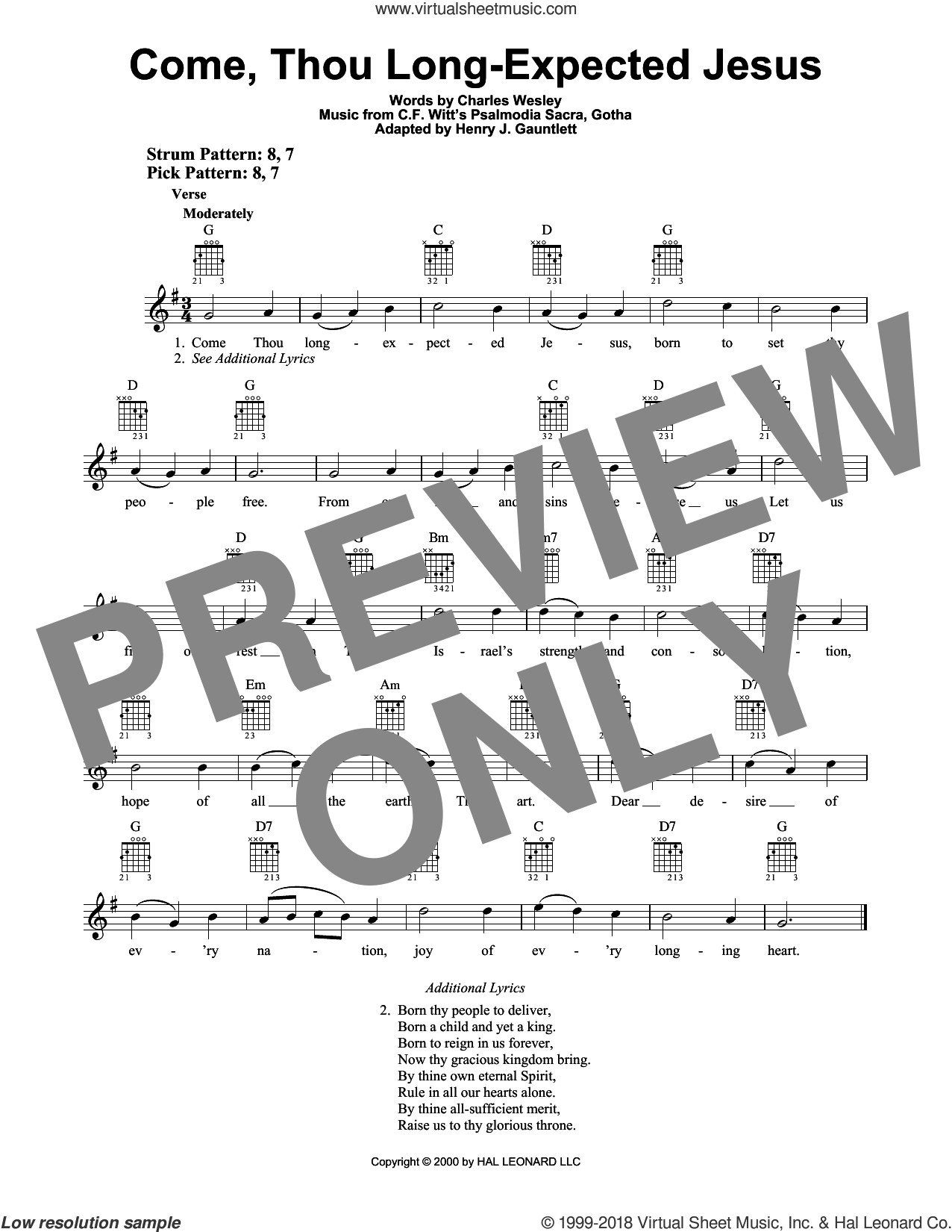 Come, Thou Long-Expected Jesus sheet music for guitar solo (chords) by C.F. Witt, Charles Wesley and Henry Gauntlett, easy guitar (chords)