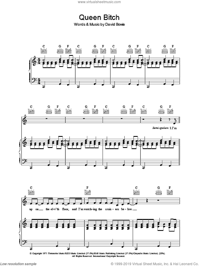Queen Bitch sheet music for voice, piano or guitar by David Bowie. Score Image Preview.