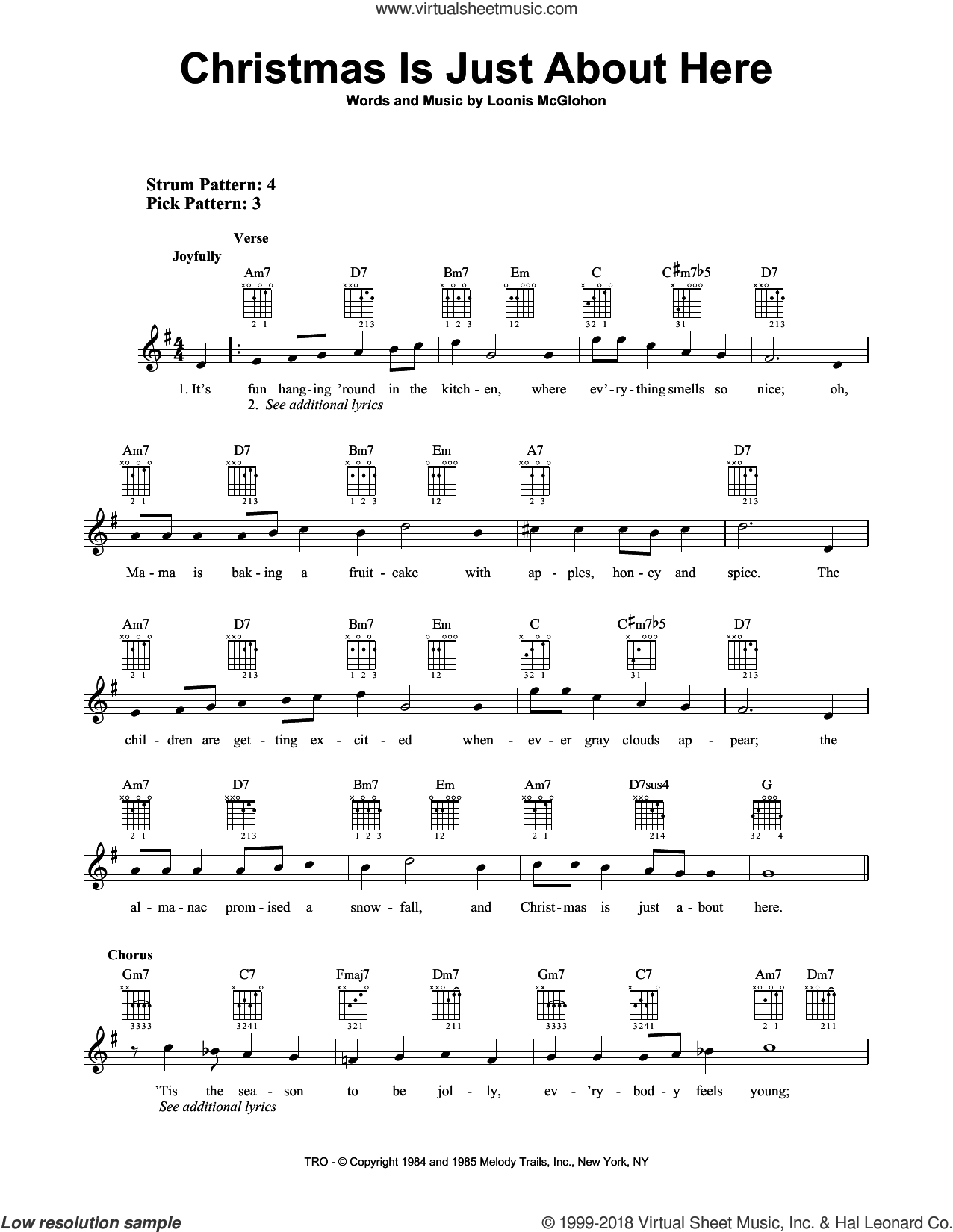 Christmas Is Just About Here sheet music for guitar solo (chords) by Loonis McGlohon, easy guitar (chords)