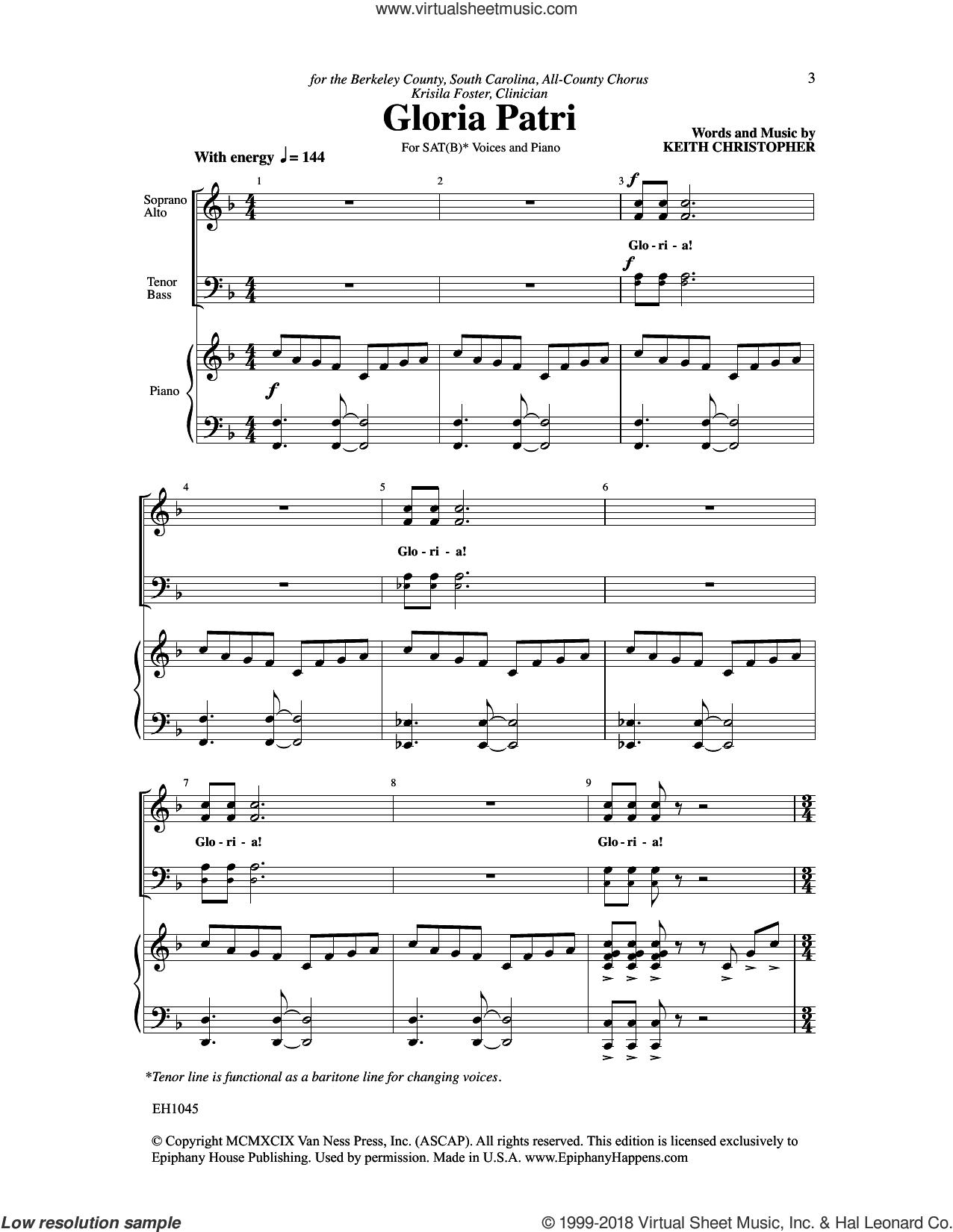 Gloria Patri sheet music for choir (SATB: soprano, alto, tenor, bass) by Keith Christopher, intermediate skill level