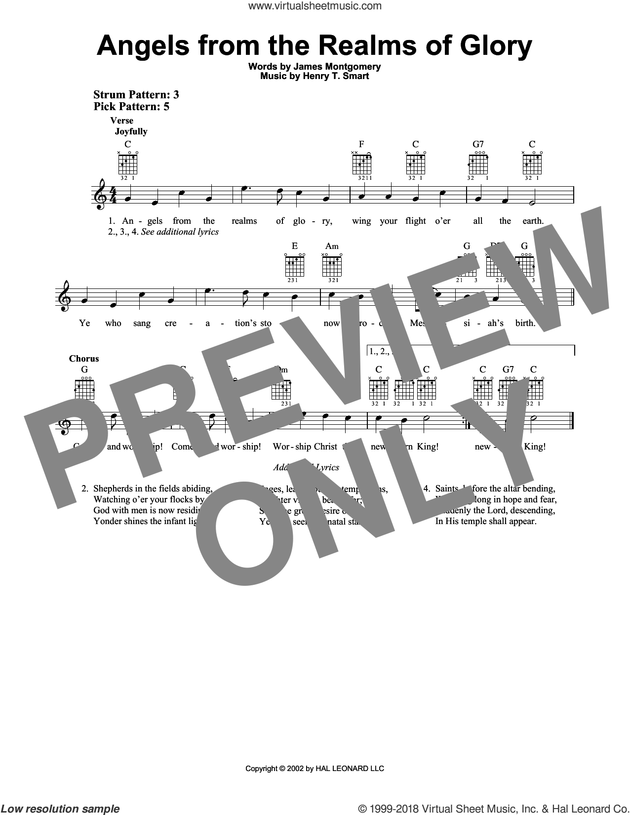 Angels From The Realms Of Glory sheet music for guitar solo (chords) by James Montgomery and Henry T. Smart, easy guitar (chords)