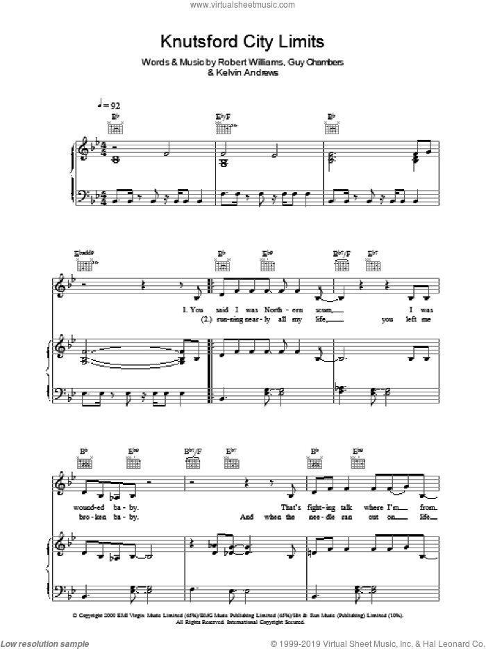 Knutsford City Limits sheet music for voice, piano or guitar by Robbie Williams, intermediate. Score Image Preview.
