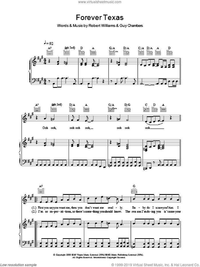Forever Texas sheet music for voice, piano or guitar by Robbie Williams. Score Image Preview.