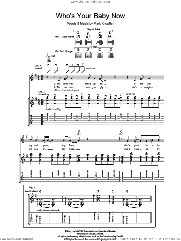 Who's Your Baby Now sheet music for guitar (tablature) by Mark Knopfler. Score Image Preview.