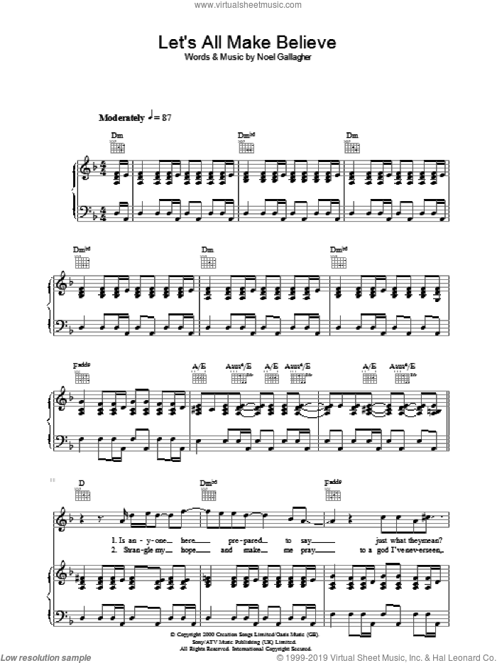Let's All Make Believe sheet music for voice, piano or guitar by Noel Gallagher and Oasis. Score Image Preview.