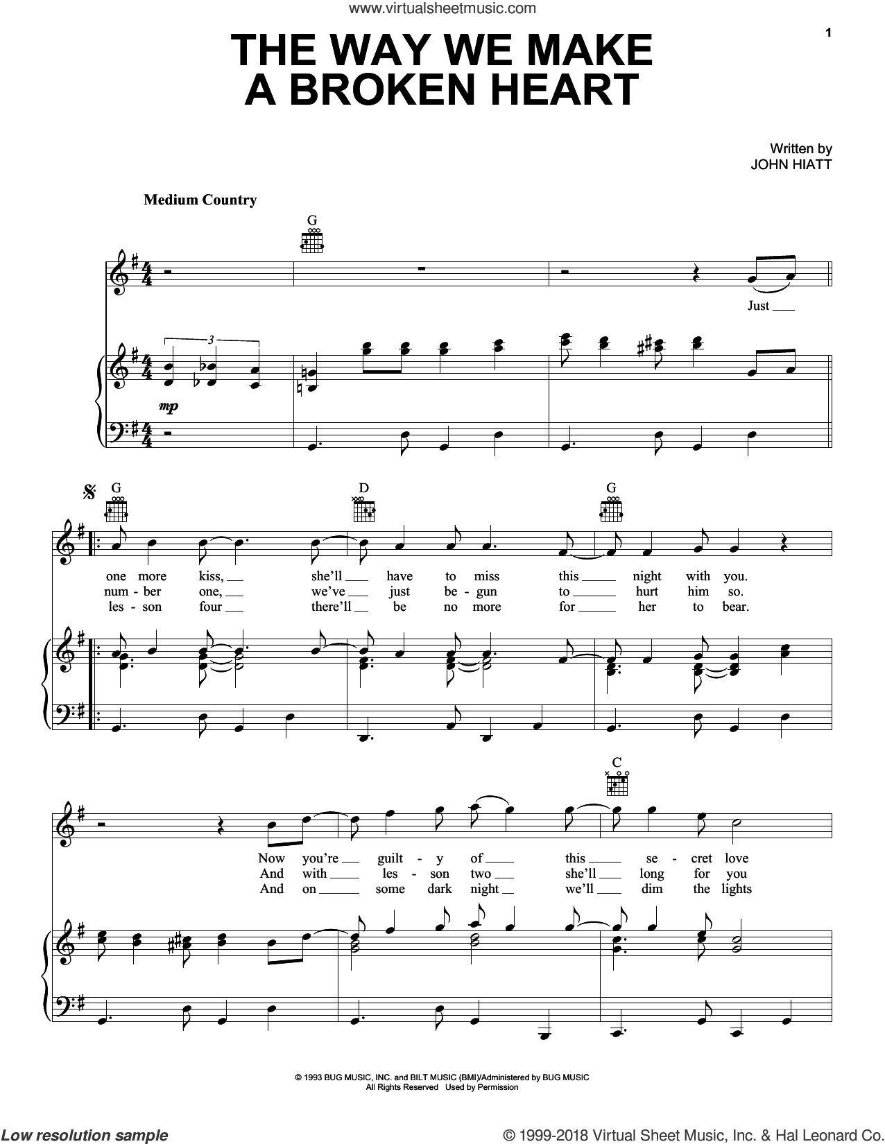 The Way We Make A Broken Heart sheet music for voice, piano or guitar by John Hiatt and Rosanne Cash, intermediate skill level