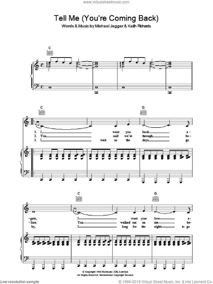 Tell Me (You're Coming Back) sheet music for voice, piano or guitar by The Rolling Stones, Keith Richards and Mick Jagger, intermediate. Score Image Preview.