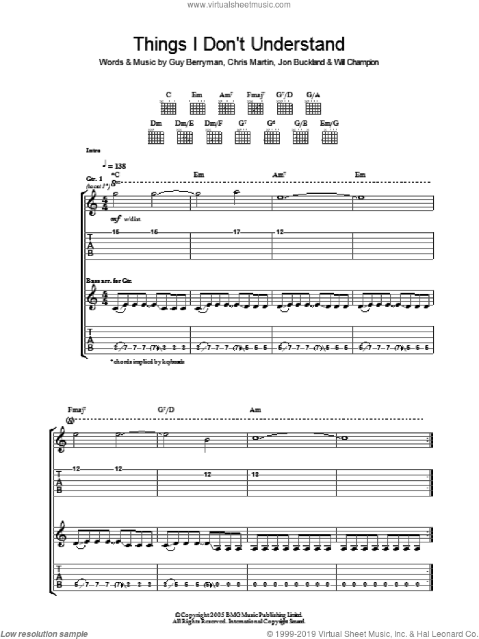 Things I Don't Understand sheet music for guitar (tablature) by Chris Martin, Coldplay, Guy Berryman, Jon Buckland and Will Champion. Score Image Preview.