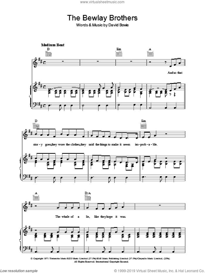 The Bewlay Brothers sheet music for voice, piano or guitar by David Bowie, intermediate. Score Image Preview.