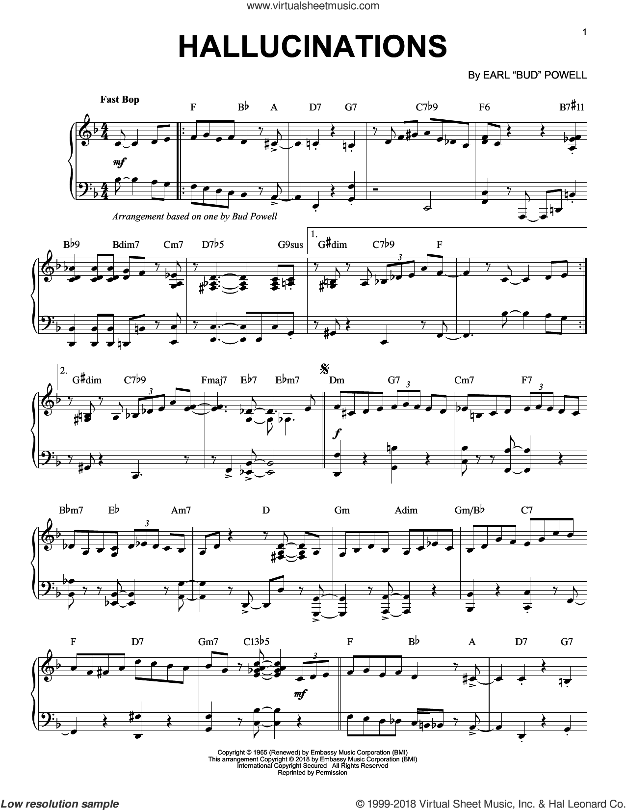 Hallucinations sheet music for piano solo by Bud Powell, intermediate skill level