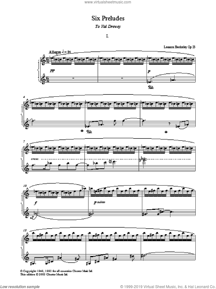 Prelude No. 1 (from Six Preludes) sheet music for piano solo by Lennox Berkeley, classical score, intermediate skill level