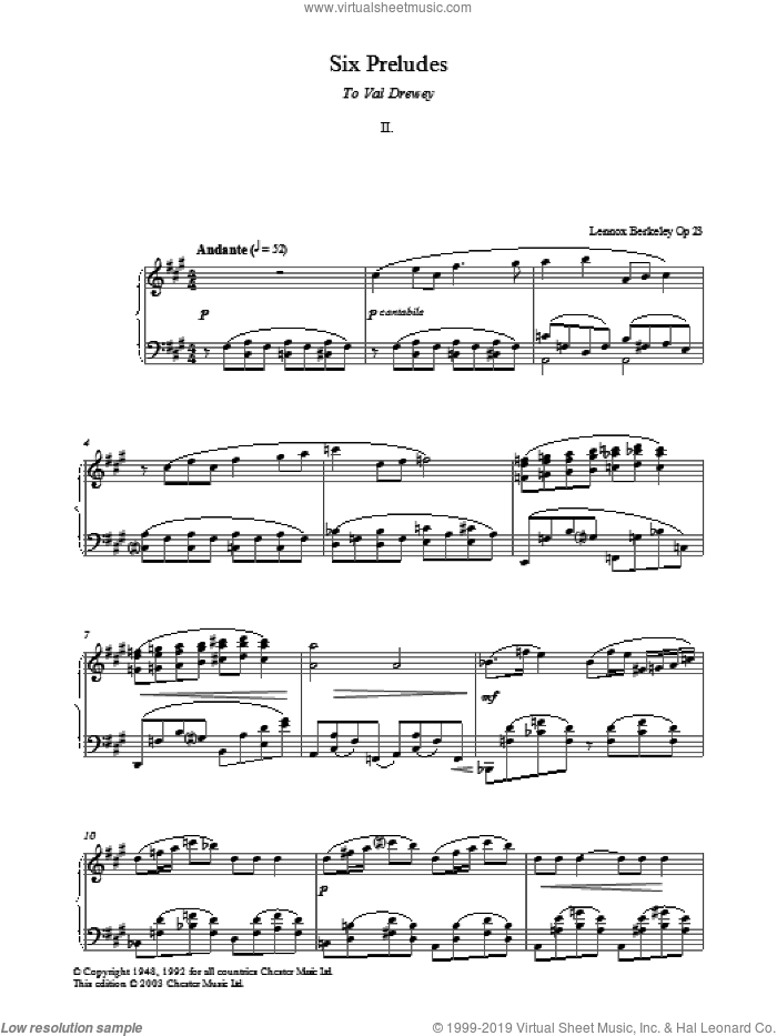 Prelude No. 2 (from Six Preludes) sheet music for piano solo by Lennox Berkeley, classical score, intermediate skill level