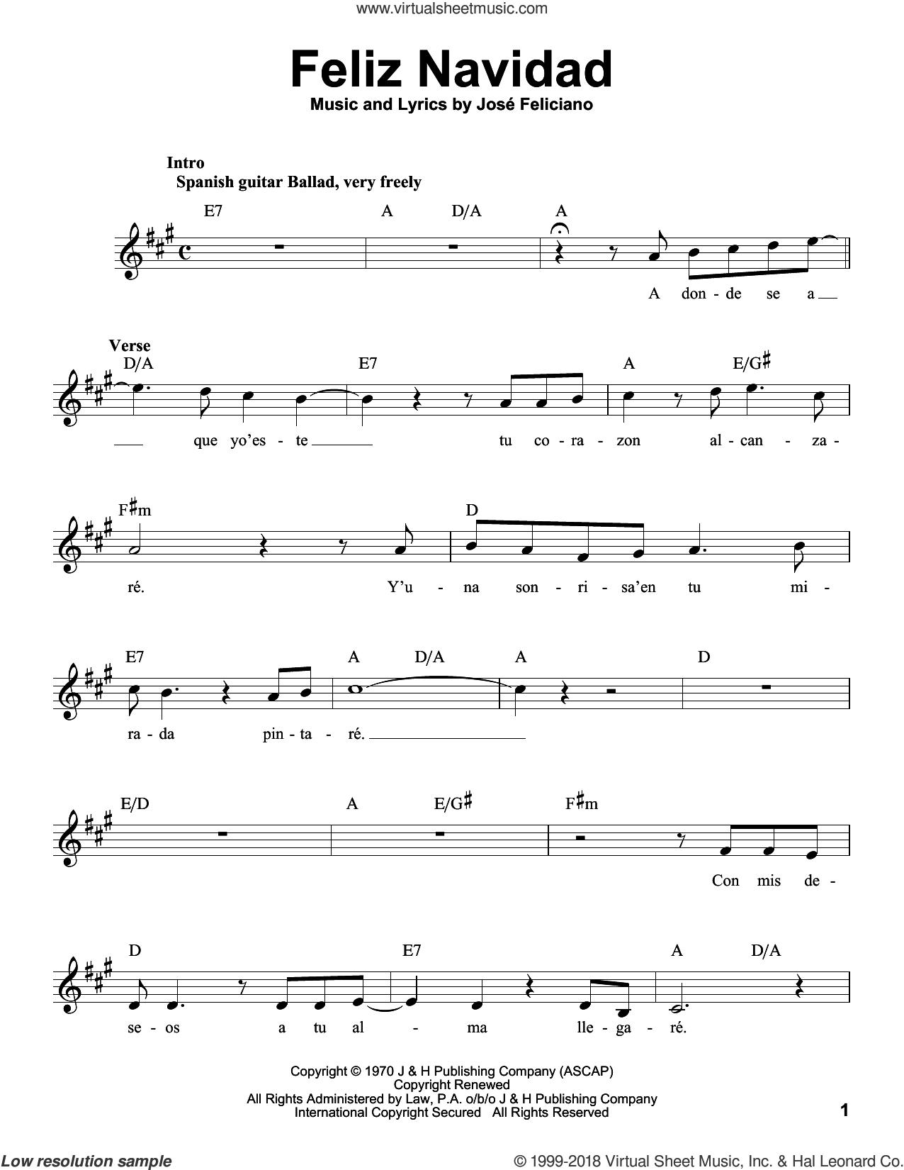Feliz Navidad sheet music for voice solo by Jose Feliciano, Clay Walker and Michael Buble, intermediate skill level