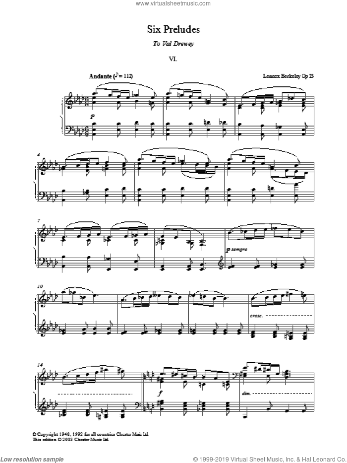Prelude No. 6 (from Six Preludes) sheet music for piano solo by Lennox Berkeley, classical score, intermediate skill level