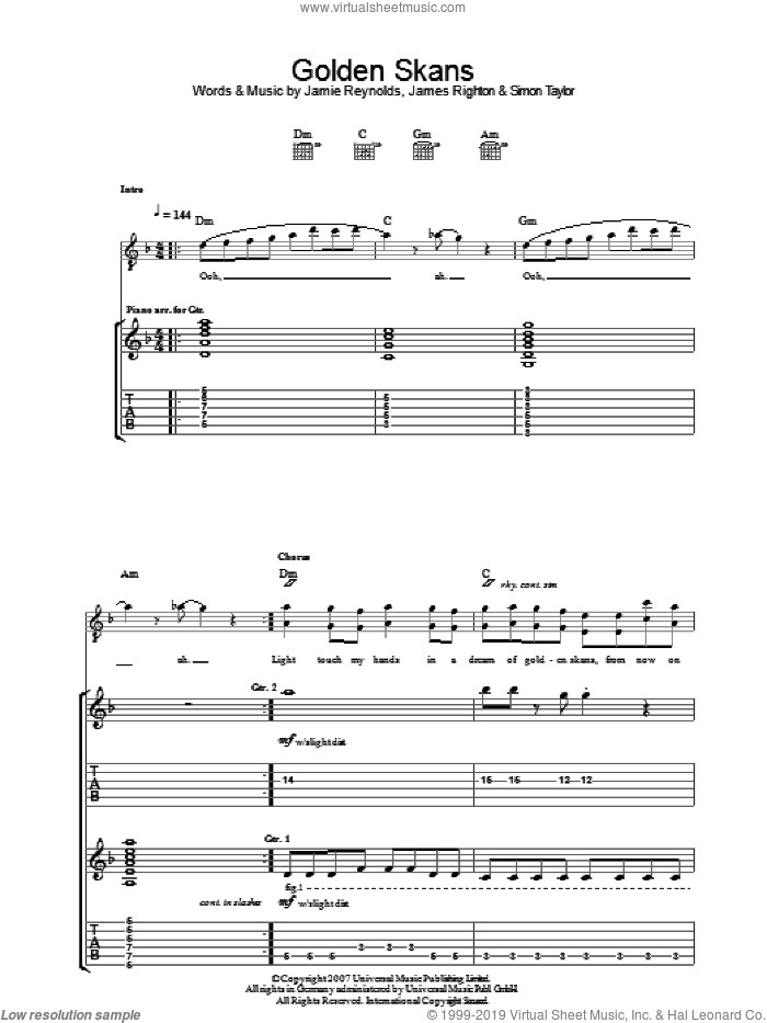Golden Skans sheet music for guitar (tablature) by James Righton and Simon Taylor. Score Image Preview.