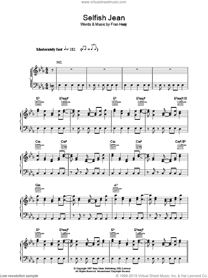 Selfish Jean sheet music for voice, piano or guitar by Merle Travis, intermediate voice, piano or guitar. Score Image Preview.