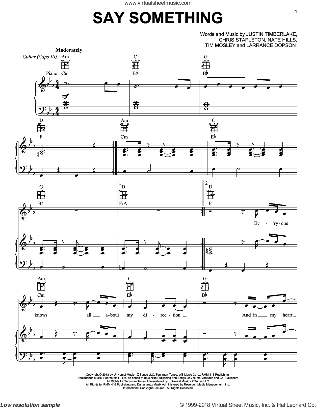 Say Something (feat. Chris Stapleton) sheet music for voice, piano or guitar by Justin Timberlake, Justin Timberlake feat. Chris Stapleton, Chris Stapleton, Larrance Dopson, Nate Hills and Tim Mosley, intermediate skill level