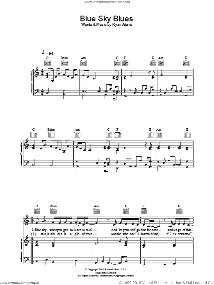 Blue Sky Blues sheet music for voice, piano or guitar by Ryan Adams, intermediate skill level