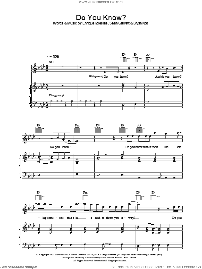 Do You Know? sheet music for voice, piano or guitar by Enrique Iglesias, Bryan Kidd and Sean Garrett, intermediate. Score Image Preview.