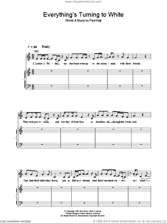 Everything's Turning To White sheet music for voice, piano or guitar by Paul Kelly