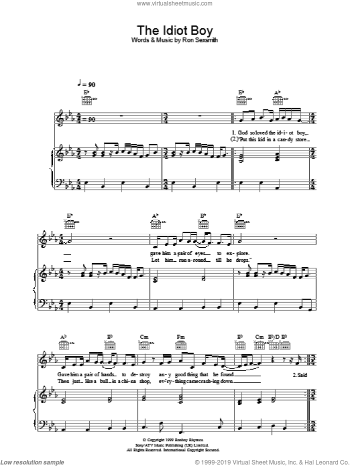 The Idiot Boy sheet music for voice, piano or guitar by Ron Sexsmith, intermediate skill level