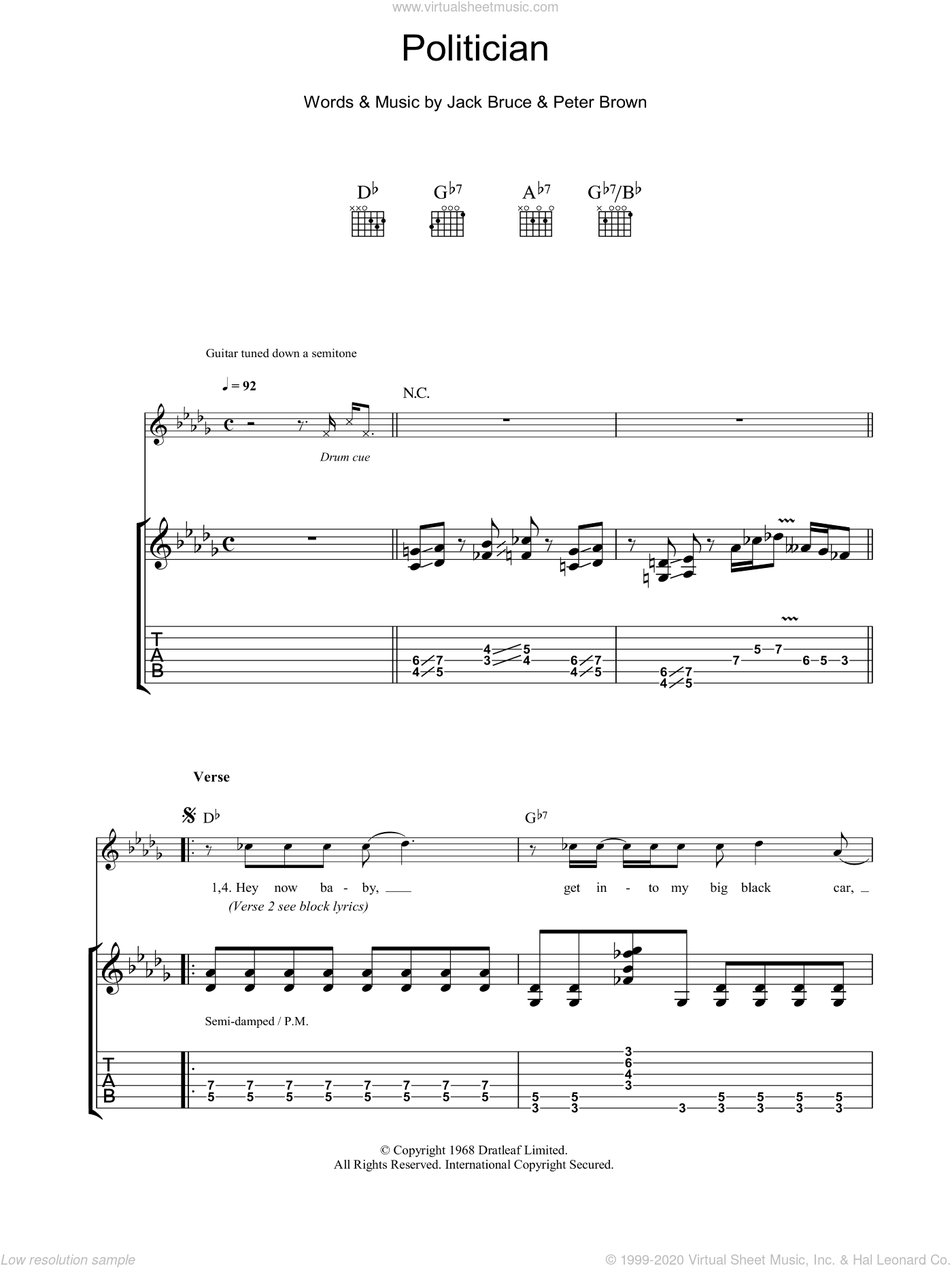 Politician sheet music for guitar (tablature) by Robben Ford, Jack Bruce and Pete Brown, intermediate skill level