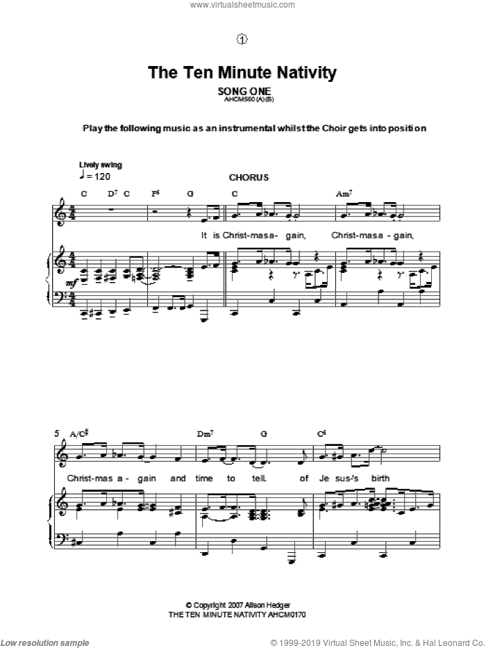 Song One / Instrumental Introduction (from The Ten Minute Nativity) sheet music for voice, piano or guitar by Alison Hedger. Score Image Preview.