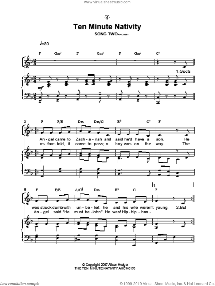 Song Two (from The Ten Minute Nativity) sheet music for voice, piano or guitar by Alison Hedger. Score Image Preview.