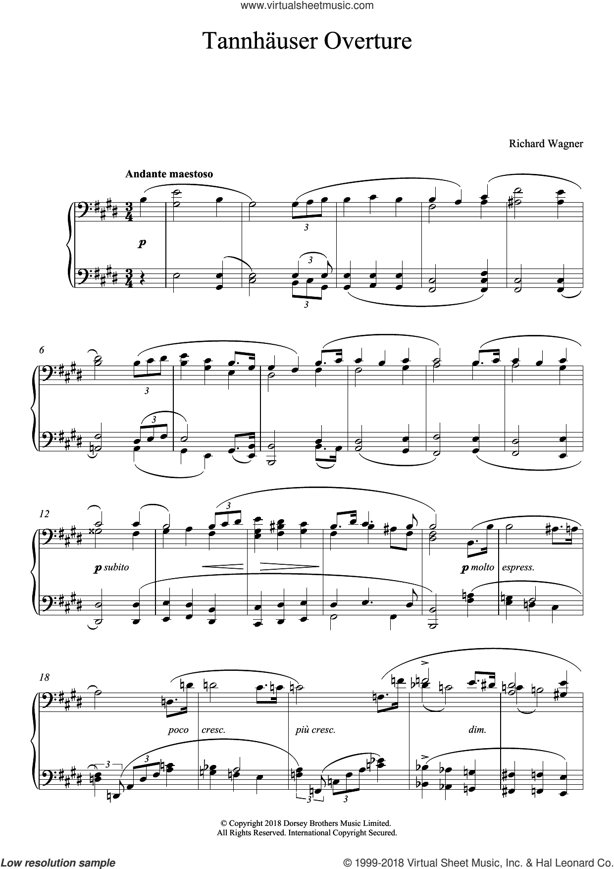 Tannhauser Overture sheet music for piano solo by Richard Wagner, classical score, intermediate skill level