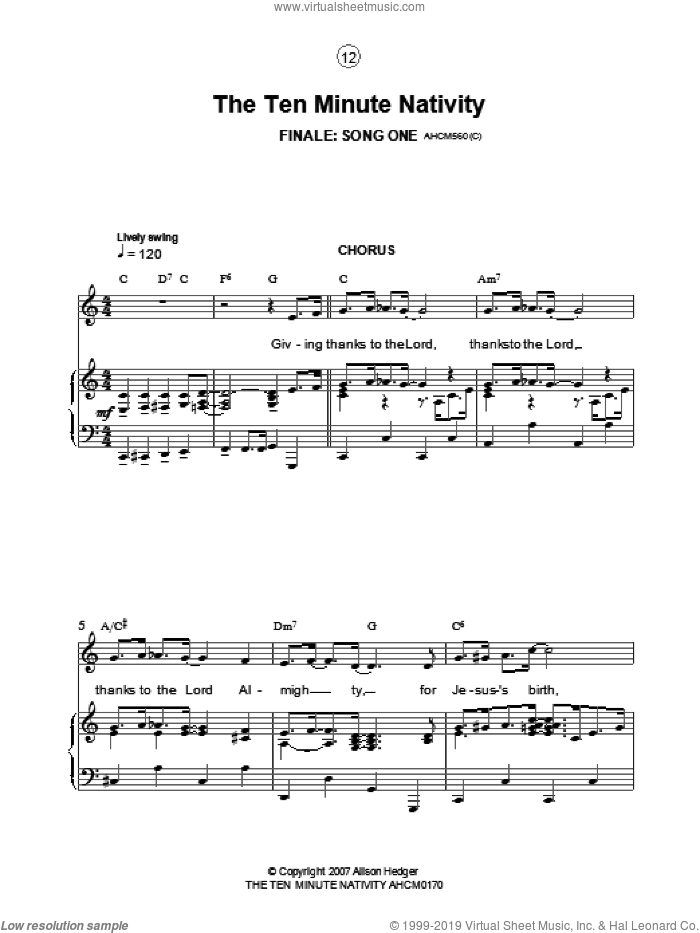 Finale (from The Ten Minute Nativity) sheet music for voice, piano or guitar by Alison Hedger. Score Image Preview.
