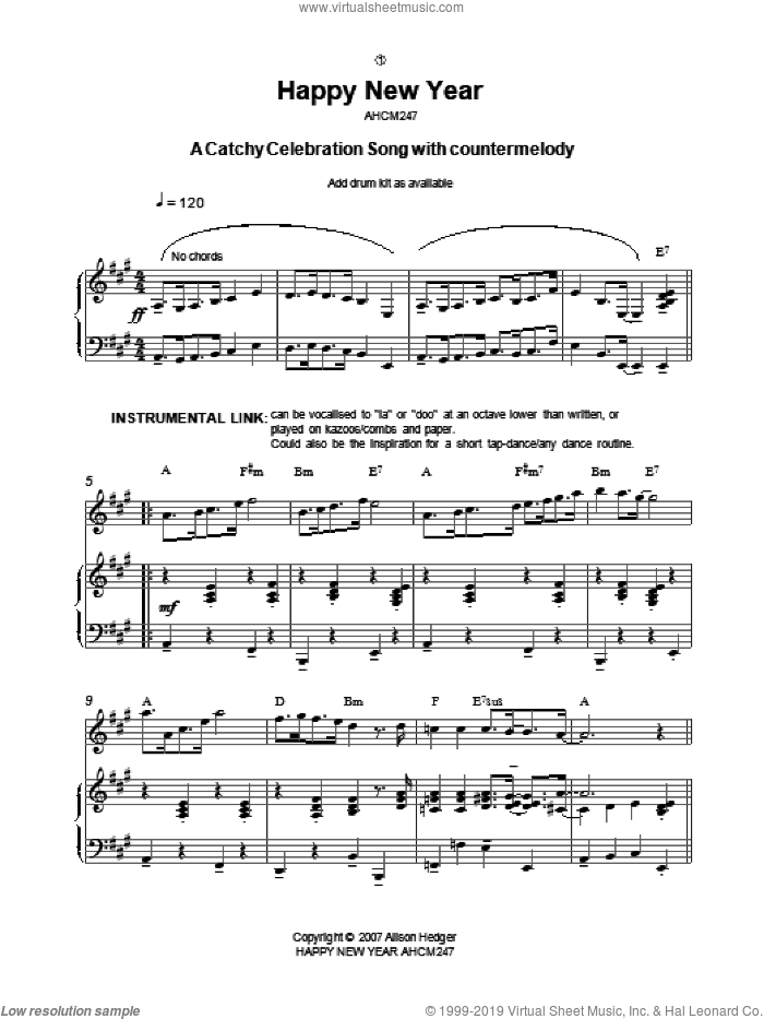Happy New Year sheet music for voice, piano or guitar by Alison Hedger. Score Image Preview.