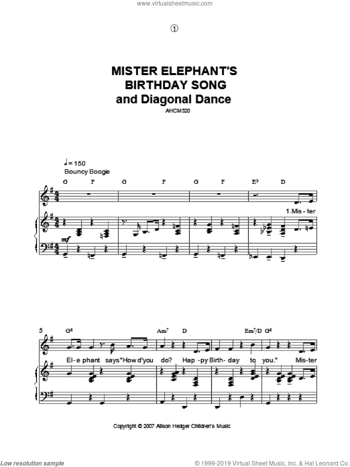 Mister Elephant's Birthday Song And Diagonal Dance sheet music for voice, piano or guitar by Alison Hedger, intermediate. Score Image Preview.