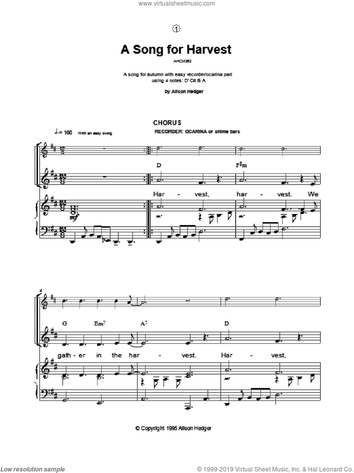 A Song For Harvest sheet music for voice, piano or guitar by Alison Hedger, intermediate skill level