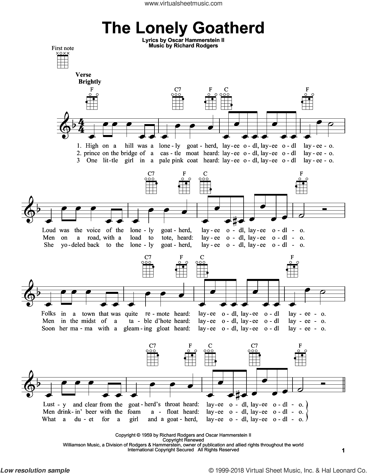 The Lonely Goatherd (from The Sound of Music) sheet music for ukulele by Rodgers & Hammerstein, Oscar II Hammerstein and Richard Rodgers, intermediate skill level