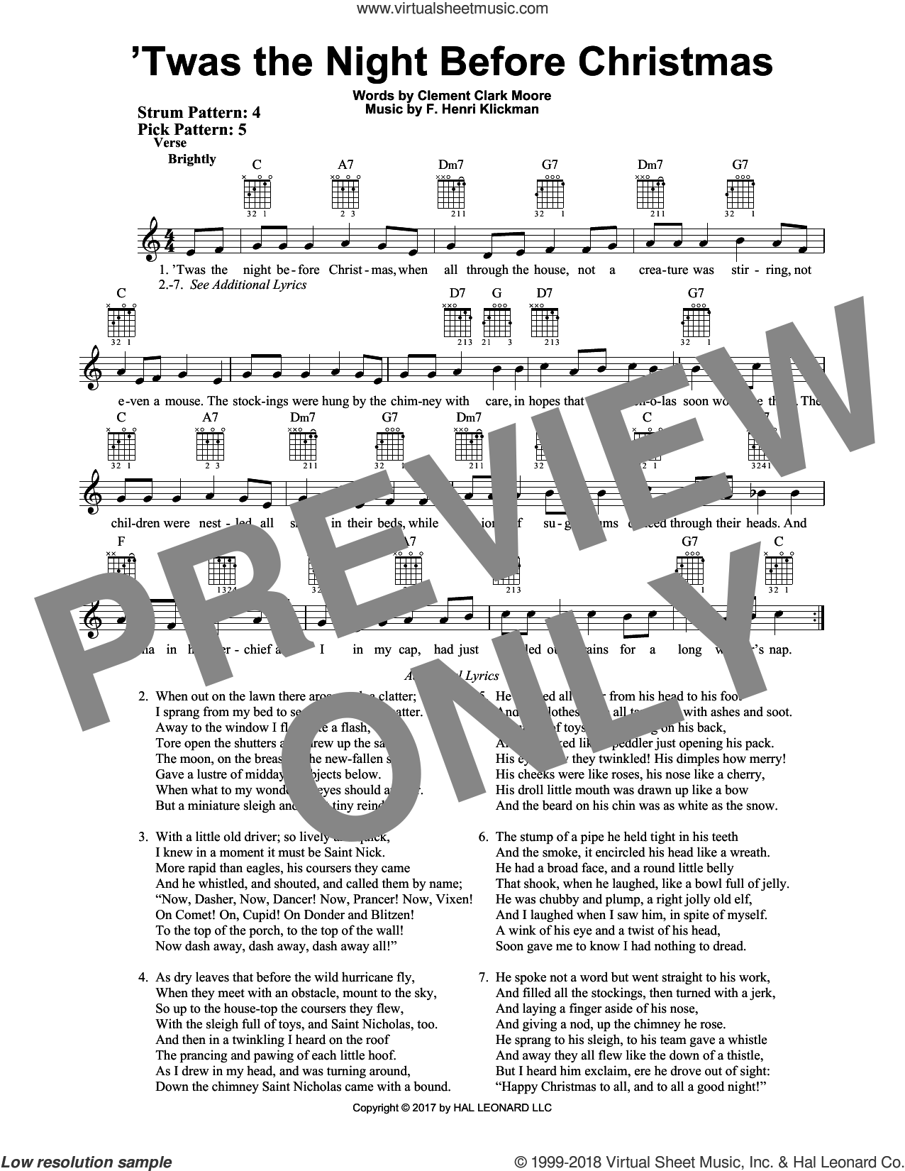 'Twas The Night Before Christmas sheet music for guitar solo (chords) by Clement Clark Moore and F. Henri Klickman, easy guitar (chords)