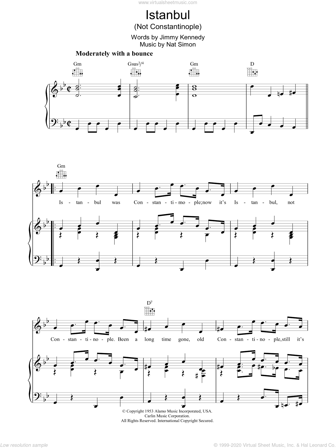 Istanbul (Not Constantinople) sheet music for voice, piano or guitar by They Might Be Giants, Frankie Vaughan, Jimmy Kennedy and Nat Simon, intermediate skill level