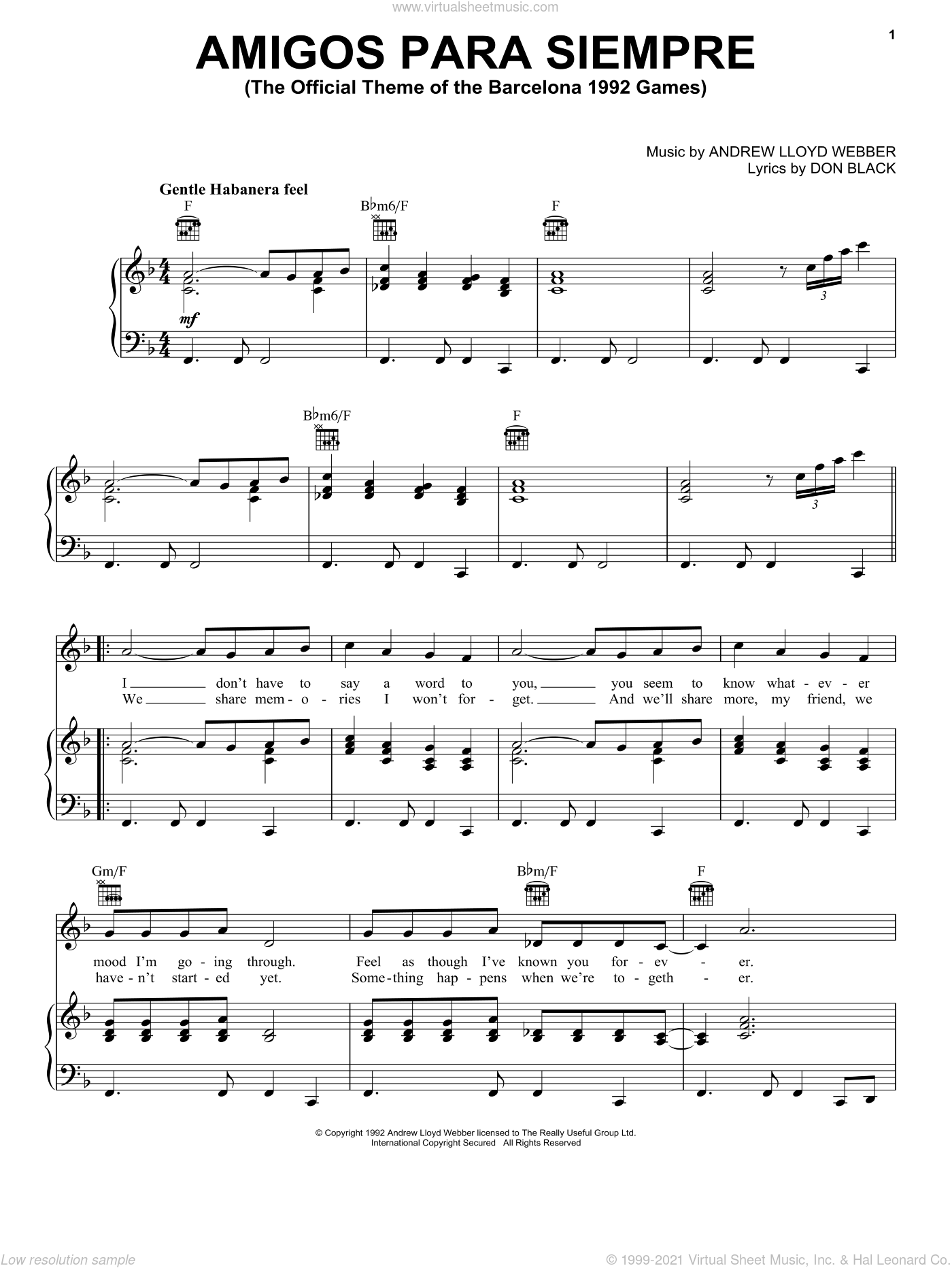 Amigos Para Siempre (Friends For Life) sheet music for voice, piano or guitar by Don Black and Andrew Lloyd Webber. Score Image Preview.