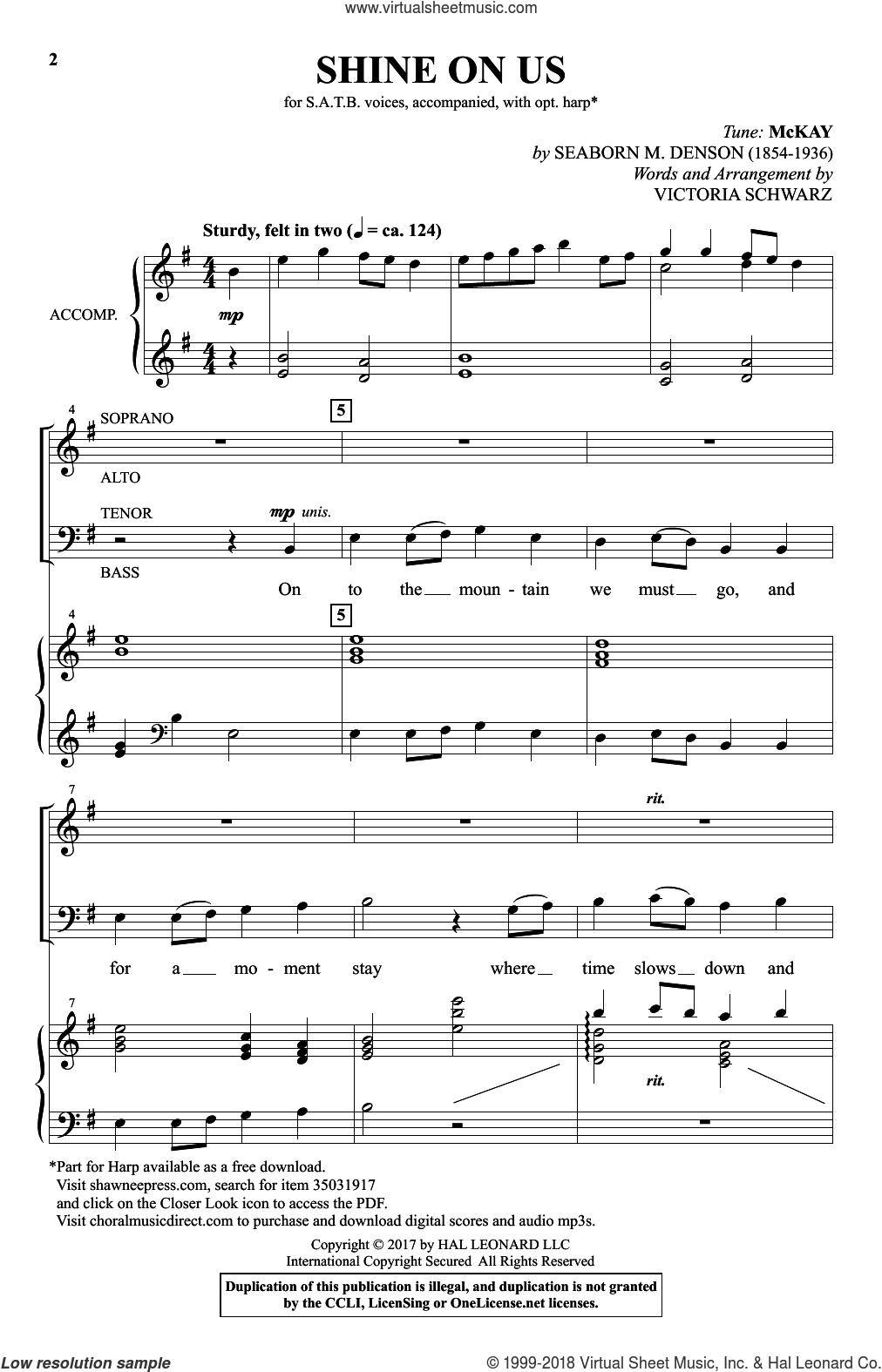 Shine On Us sheet music for choir by Victoria Schwarz, intermediate skill level