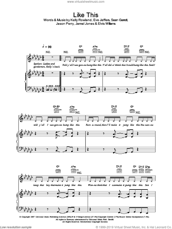 Like This sheet music for voice, piano or guitar by Kelly Rowland and Jason Perry, intermediate. Score Image Preview.