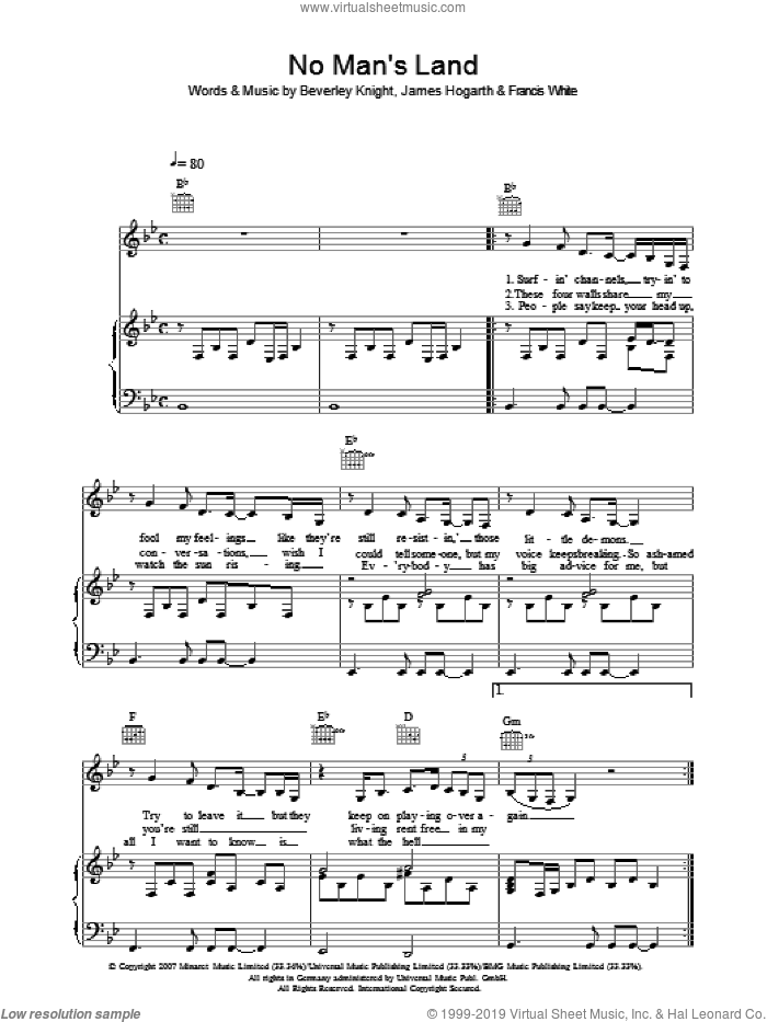 No Man's Land sheet music for voice, piano or guitar by Beverley Knight, intermediate. Score Image Preview.