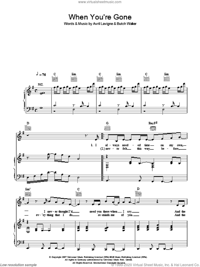 When You're Gone sheet music for voice, piano or guitar by Avril Lavigne and Butch Walker, intermediate skill level