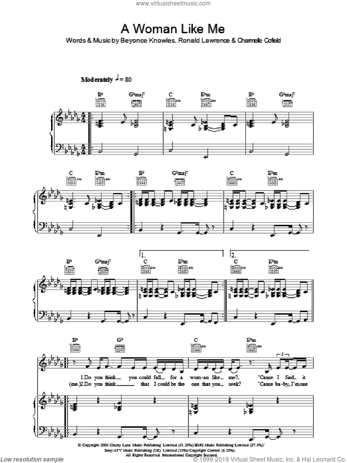 A Woman Like Me sheet music for voice, piano or guitar by Beyonce, intermediate. Score Image Preview.