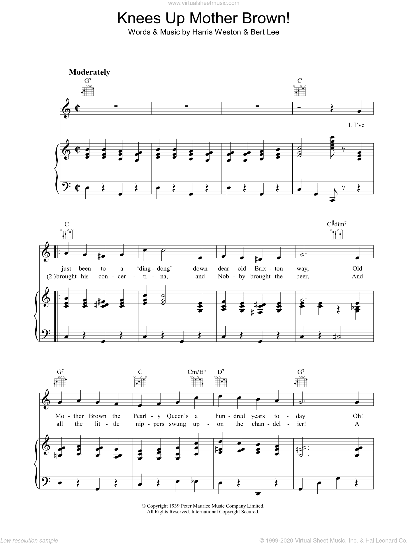 Knees Up Mother Brown sheet music for voice, piano or guitar by Bert Lee. Score Image Preview.